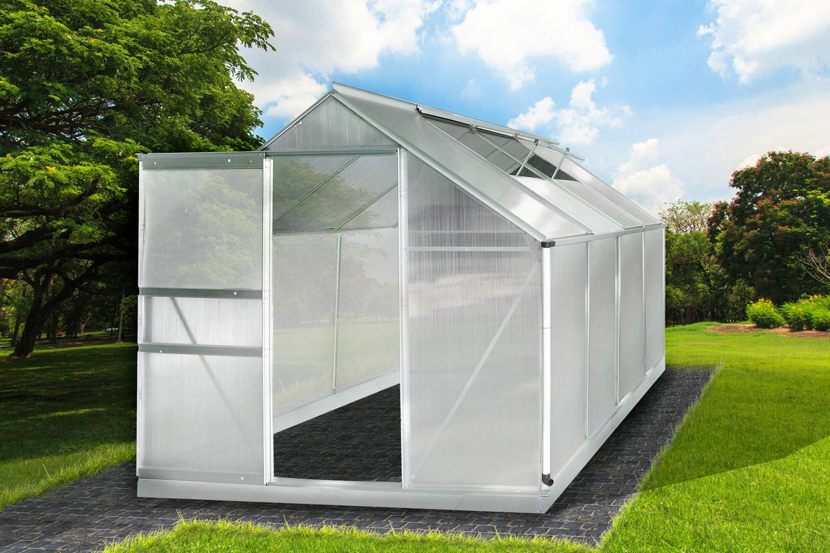 aluminium gew chshaus mit stahlfundament 9 34m alu. Black Bedroom Furniture Sets. Home Design Ideas