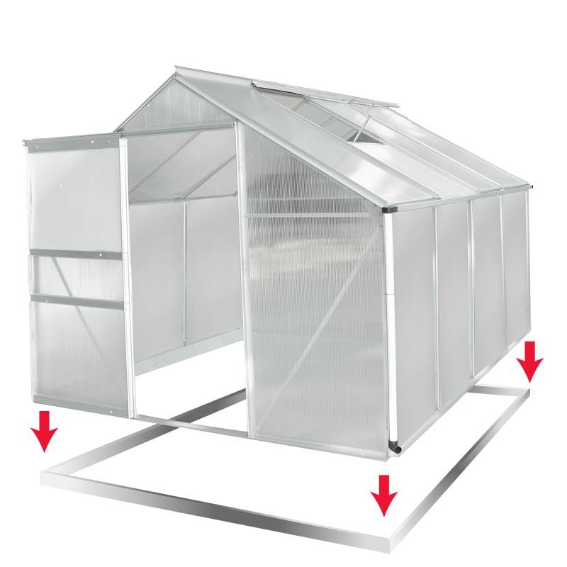 aluminium gew chshaus mit stahlfundament 7 6m treibhaus glashaus 6mm platten ebay. Black Bedroom Furniture Sets. Home Design Ideas