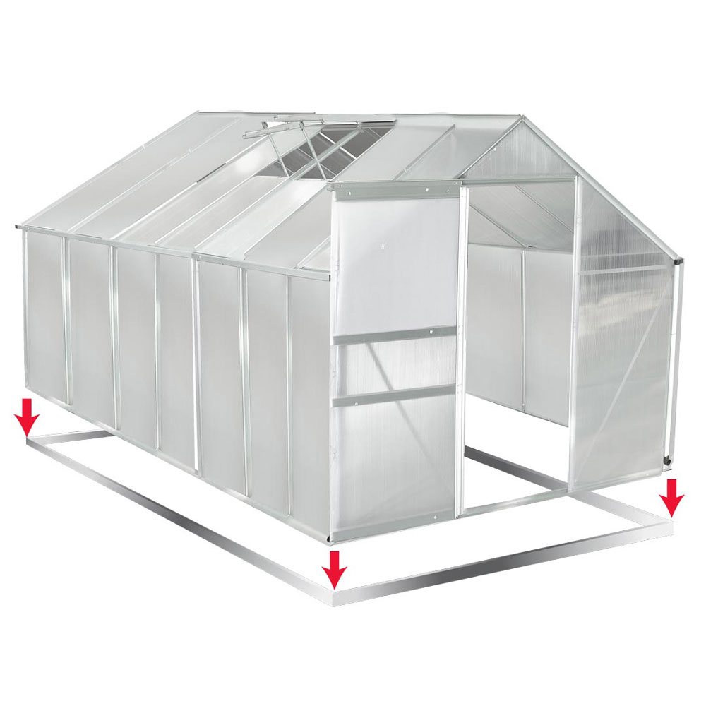 aluminium gew chshaus mit stahlfundament 16 07m treibhaus. Black Bedroom Furniture Sets. Home Design Ideas