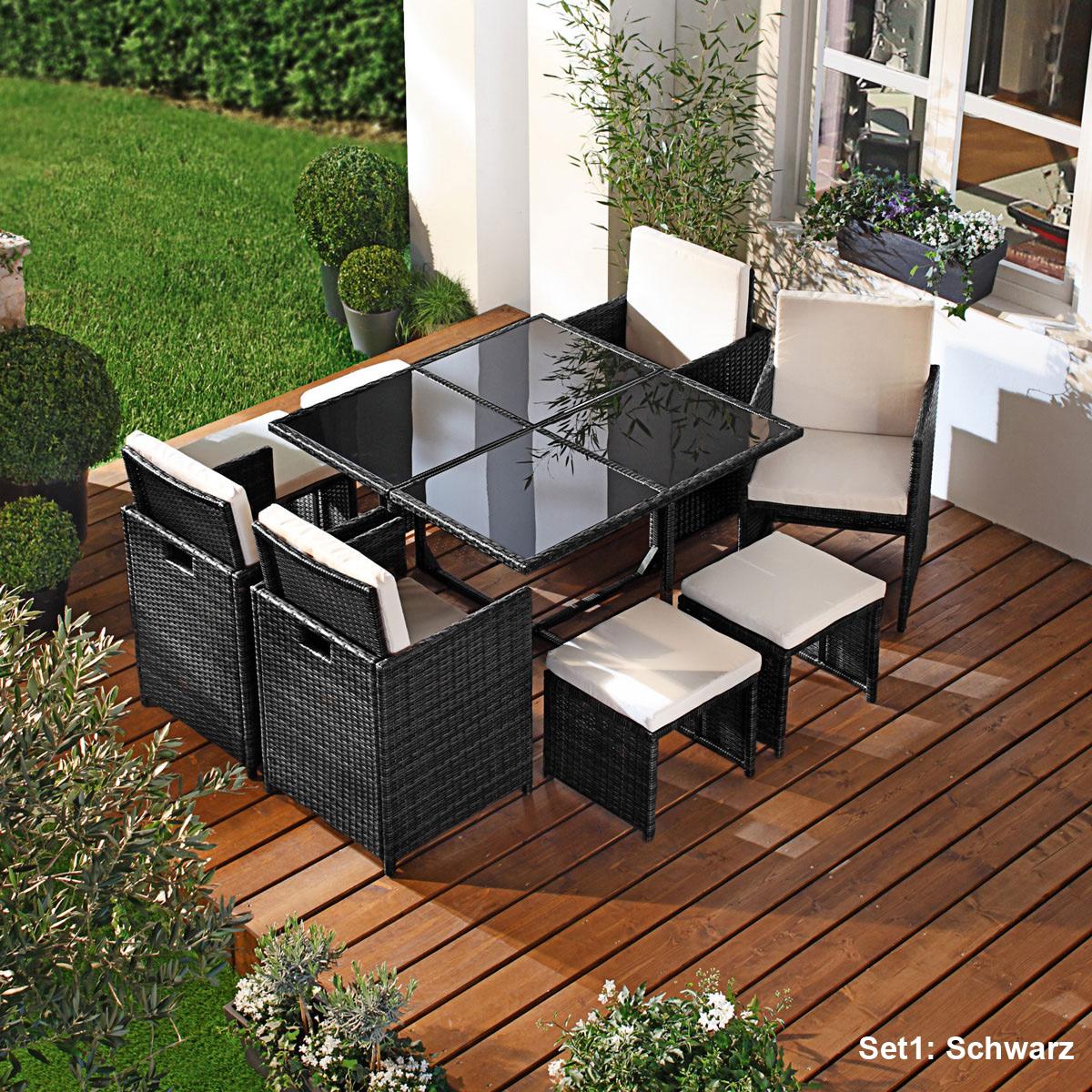 poly rattan sitzgruppe garnitur lounge gartenm bel. Black Bedroom Furniture Sets. Home Design Ideas