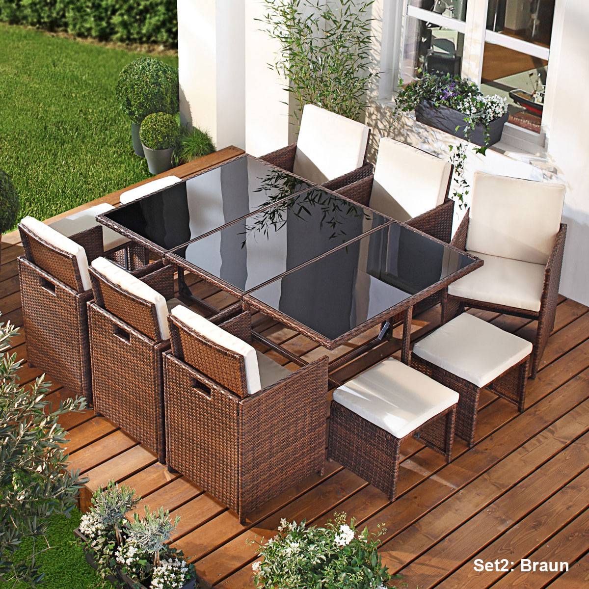 poly rattan sitzgarnitur gartenm bel gartengarnitur gartenset sitzgruppe lounge ebay. Black Bedroom Furniture Sets. Home Design Ideas