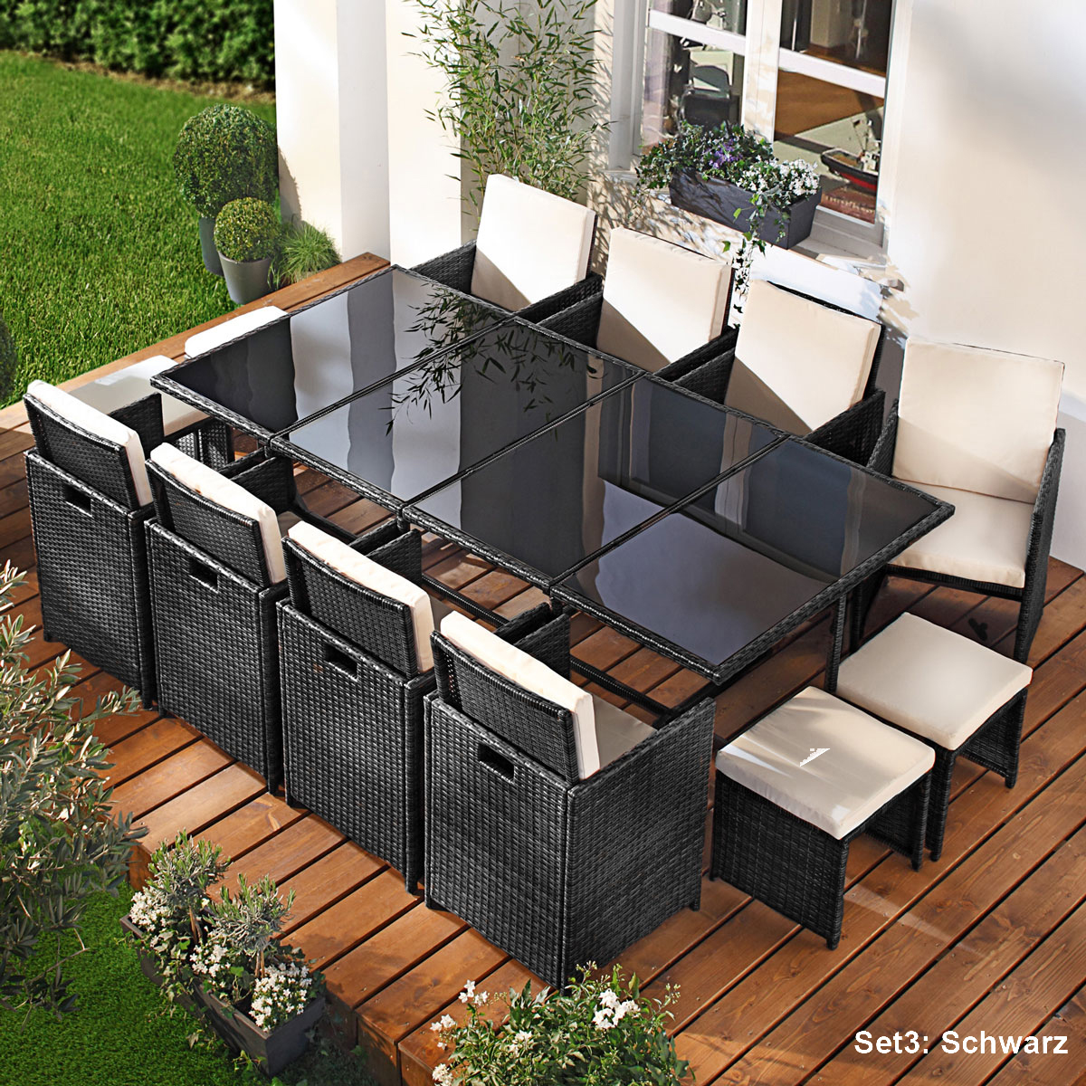 poly rattan sitzgruppe garnitur lounge gartenm bel sitzgarnitur gartengarnitur ebay. Black Bedroom Furniture Sets. Home Design Ideas