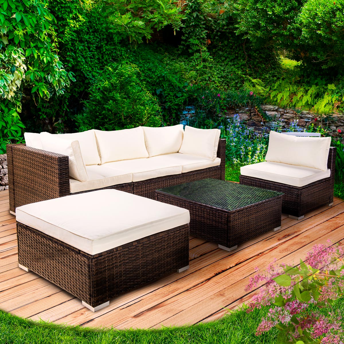 poly rattan gartenm bel lounge m bel sitzgarnitur. Black Bedroom Furniture Sets. Home Design Ideas