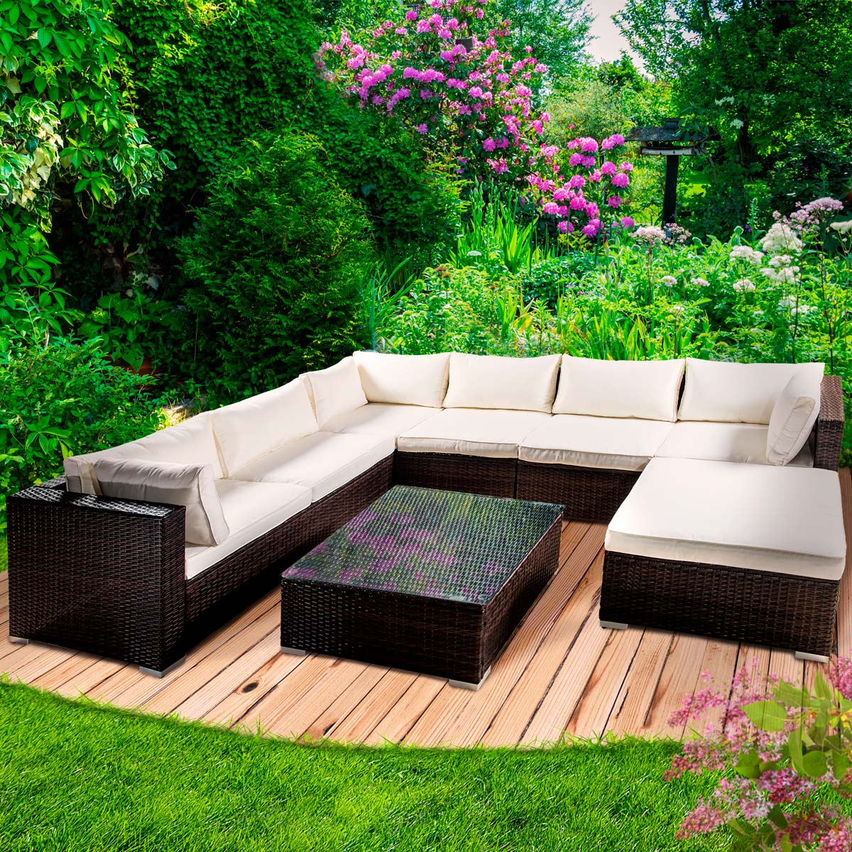 poly rattan gartenm bel lounge m bel sitzgarnitur gartengarnitur sitzgruppe sofa. Black Bedroom Furniture Sets. Home Design Ideas