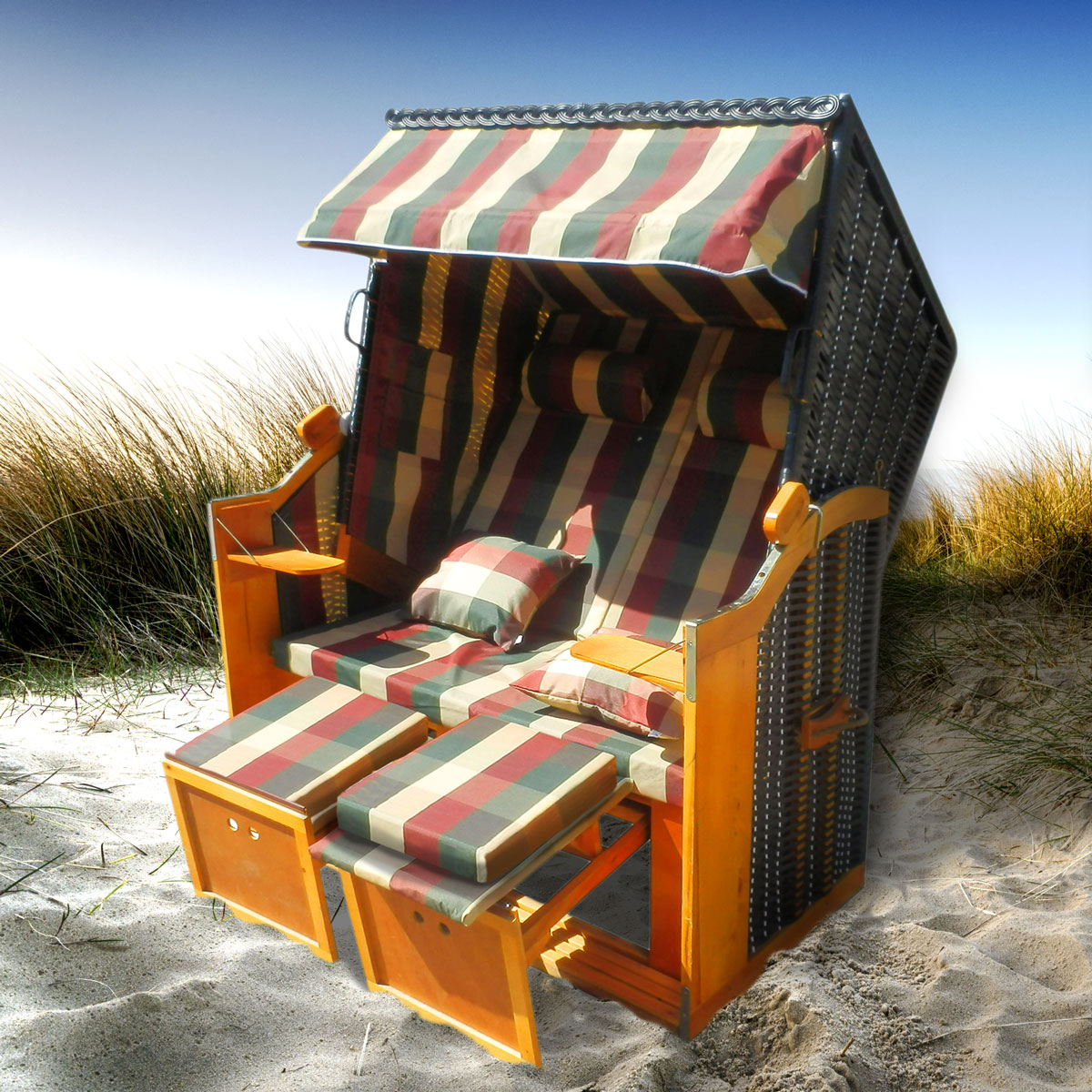 strandkorb premium volllieger ostsee gartenliege sonneninsel poly rattan xxl ebay. Black Bedroom Furniture Sets. Home Design Ideas