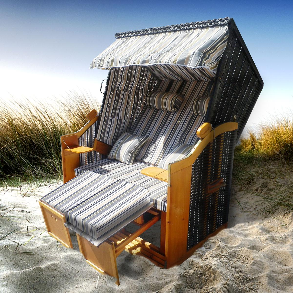 strandkorb premium volllieger ostsee gartenliege sonneninsel poly rattan xxl ebay. Black Bedroom Furniture Sets. Home Design Ideas