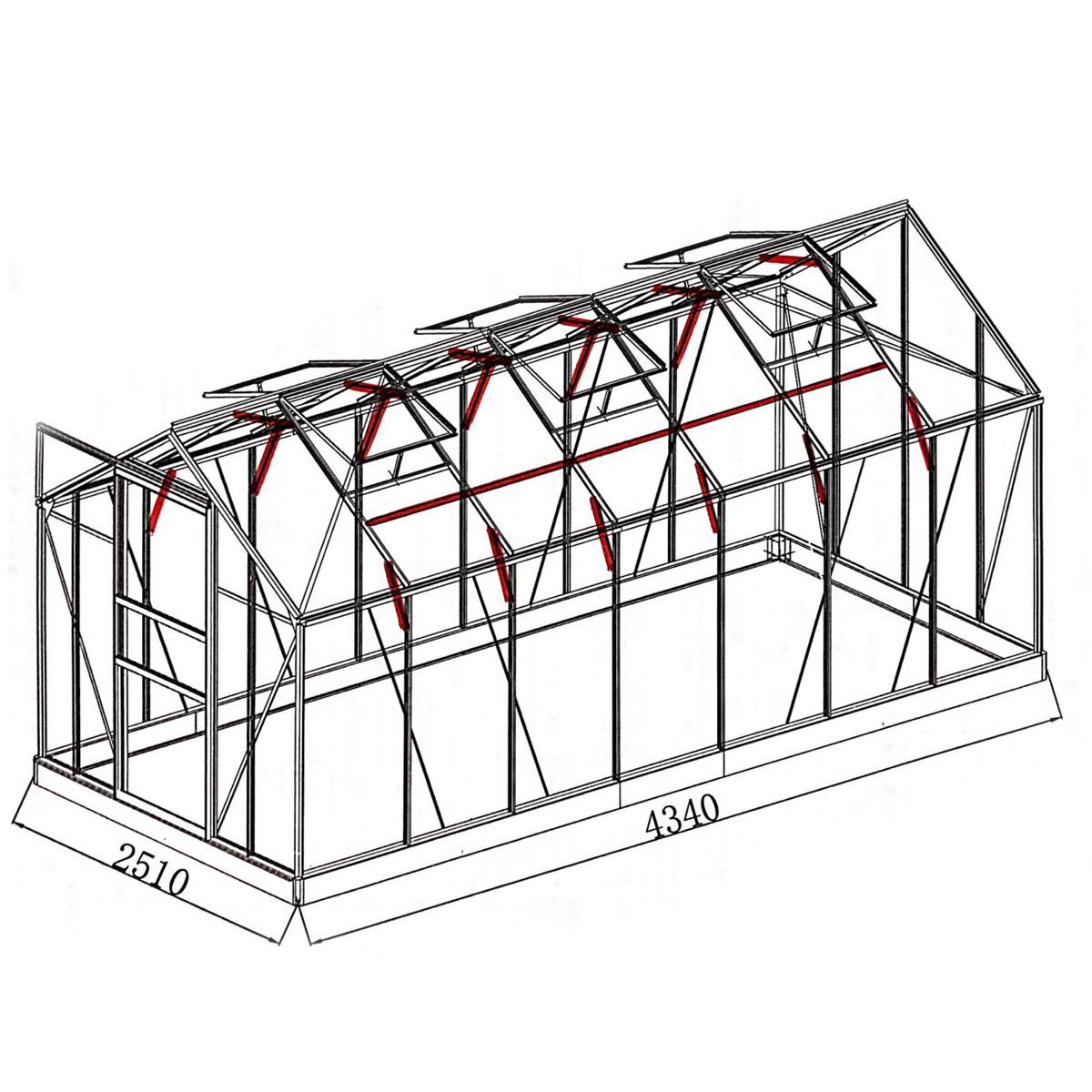 aluminium gew chshaus mit stahlfundament 17 2 m treibhaus glashaus 6mm platten 4260110181976 ebay. Black Bedroom Furniture Sets. Home Design Ideas