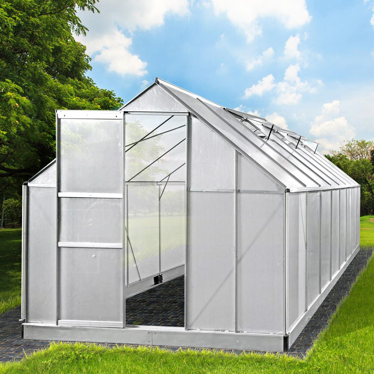 aluminium gew chshaus mit stahlfundament 19 6 m treibhaus glashaus 6mm platten ebay. Black Bedroom Furniture Sets. Home Design Ideas
