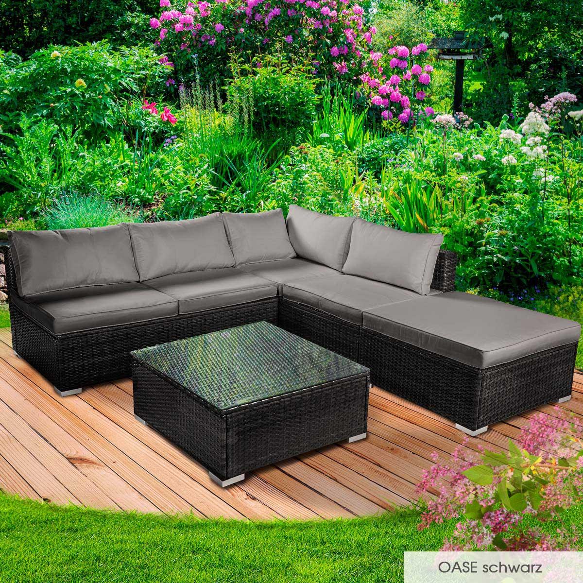 Gartenmoebel-Poly-Rattan-Lounge-Moebel-Sitzgarnitur-Gartengarnitur-Sitzgruppe-Sofa Indexbild 16