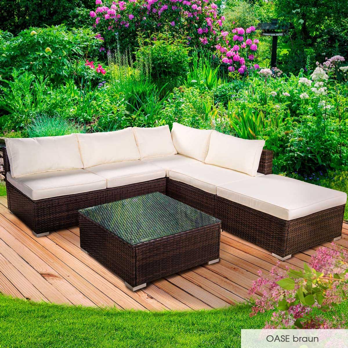 Gartenmoebel-Poly-Rattan-Lounge-Moebel-Sitzgarnitur-Gartengarnitur-Sitzgruppe-Sofa Indexbild 17