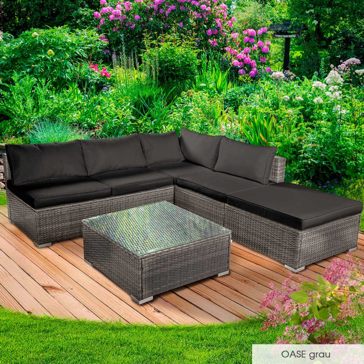 Gartenmoebel-Poly-Rattan-Lounge-Moebel-Sitzgarnitur-Gartengarnitur-Sitzgruppe-Sofa Indexbild 18