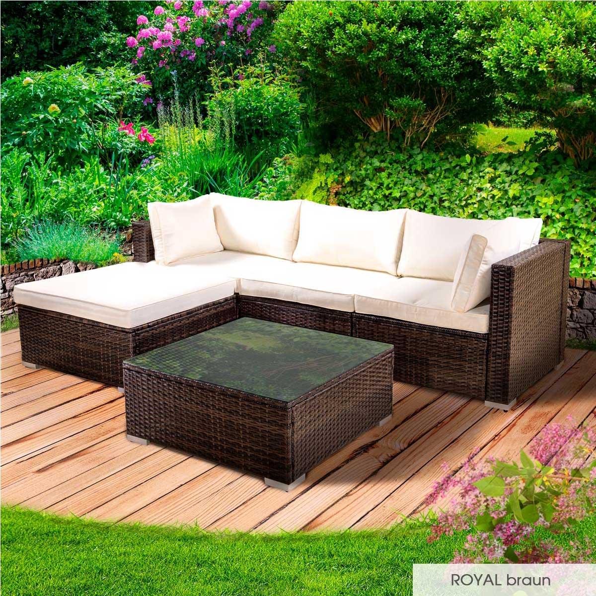 Gartenmoebel-Poly-Rattan-Lounge-Moebel-Sitzgarnitur-Gartengarnitur-Sitzgruppe-Sofa Indexbild 14