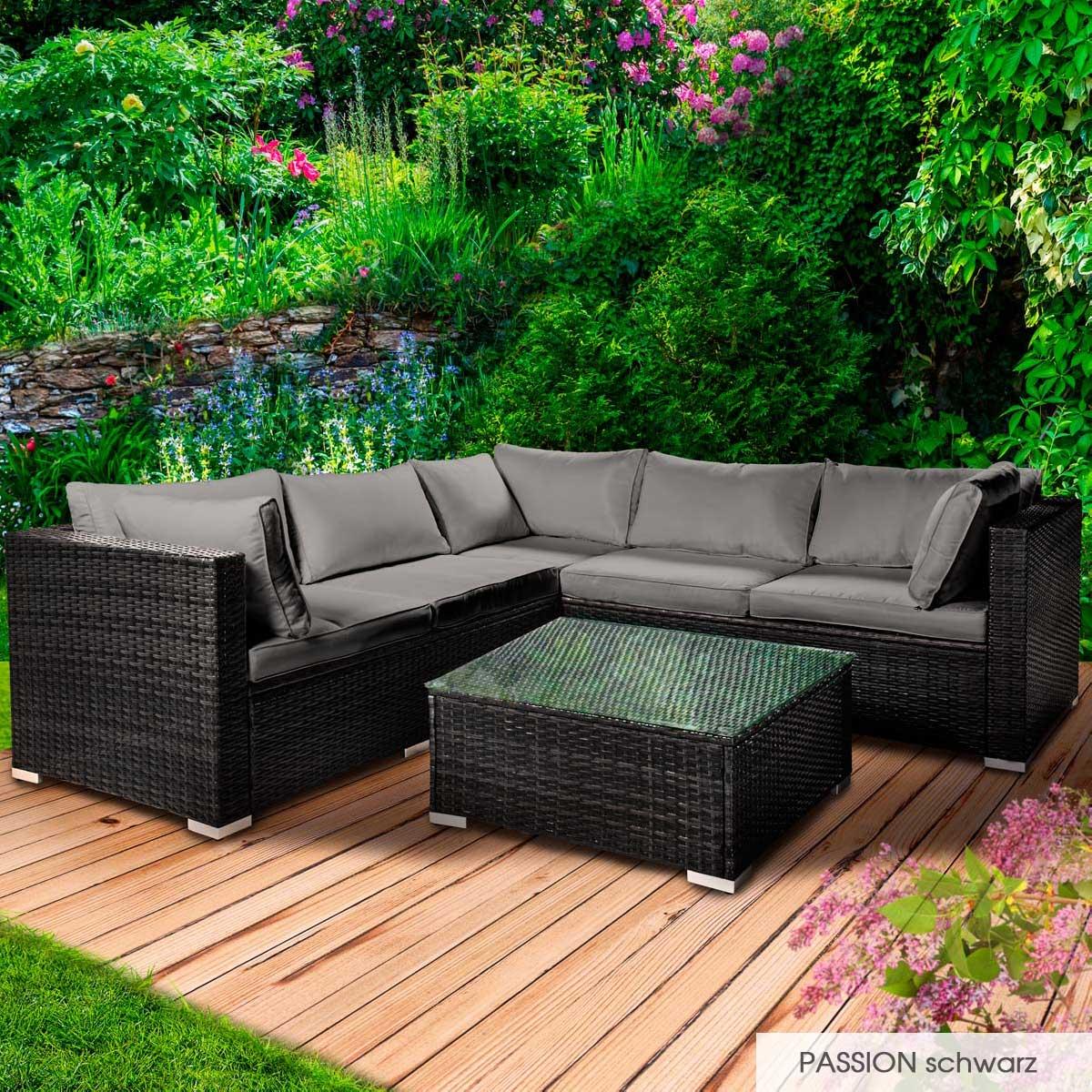 Gartenmoebel-Poly-Rattan-Lounge-Moebel-Sitzgarnitur-Gartengarnitur-Sitzgruppe-Sofa Indexbild 19