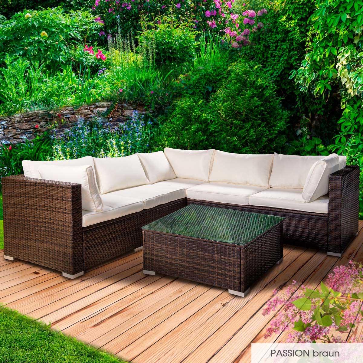 Gartenmoebel-Poly-Rattan-Lounge-Moebel-Sitzgarnitur-Gartengarnitur-Sitzgruppe-Sofa Indexbild 20