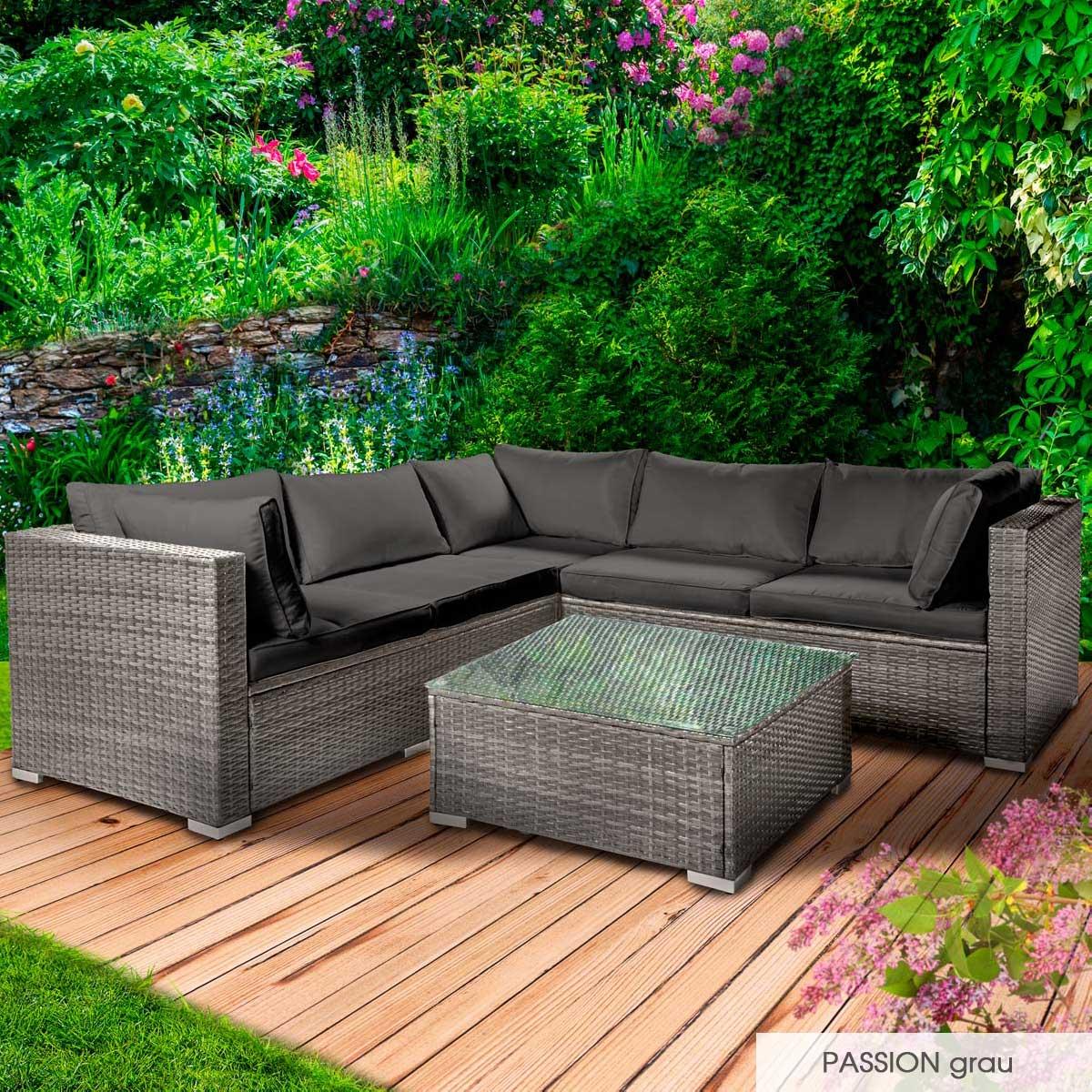 Gartenmoebel-Poly-Rattan-Lounge-Moebel-Sitzgarnitur-Gartengarnitur-Sitzgruppe-Sofa Indexbild 21