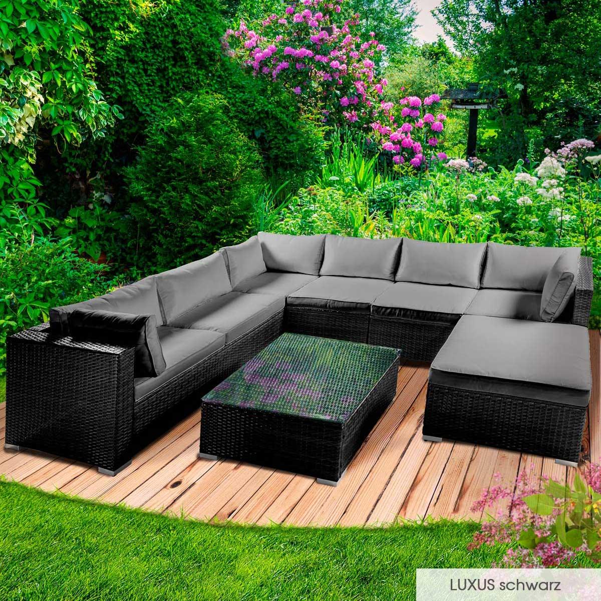Gartenmoebel-Poly-Rattan-Lounge-Moebel-Sitzgarnitur-Gartengarnitur-Sitzgruppe-Sofa Indexbild 34