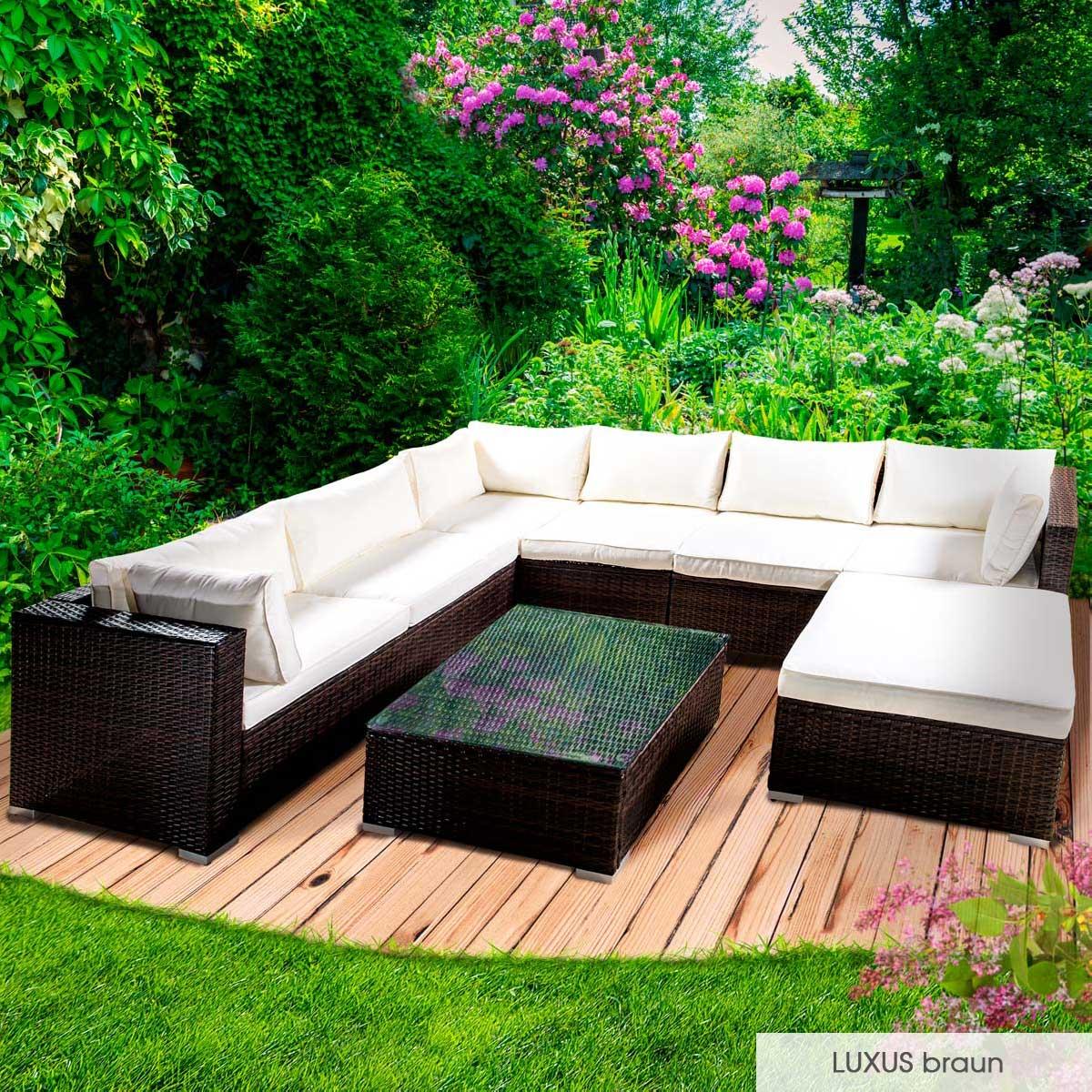 Gartenmoebel-Poly-Rattan-Lounge-Moebel-Sitzgarnitur-Gartengarnitur-Sitzgruppe-Sofa Indexbild 35