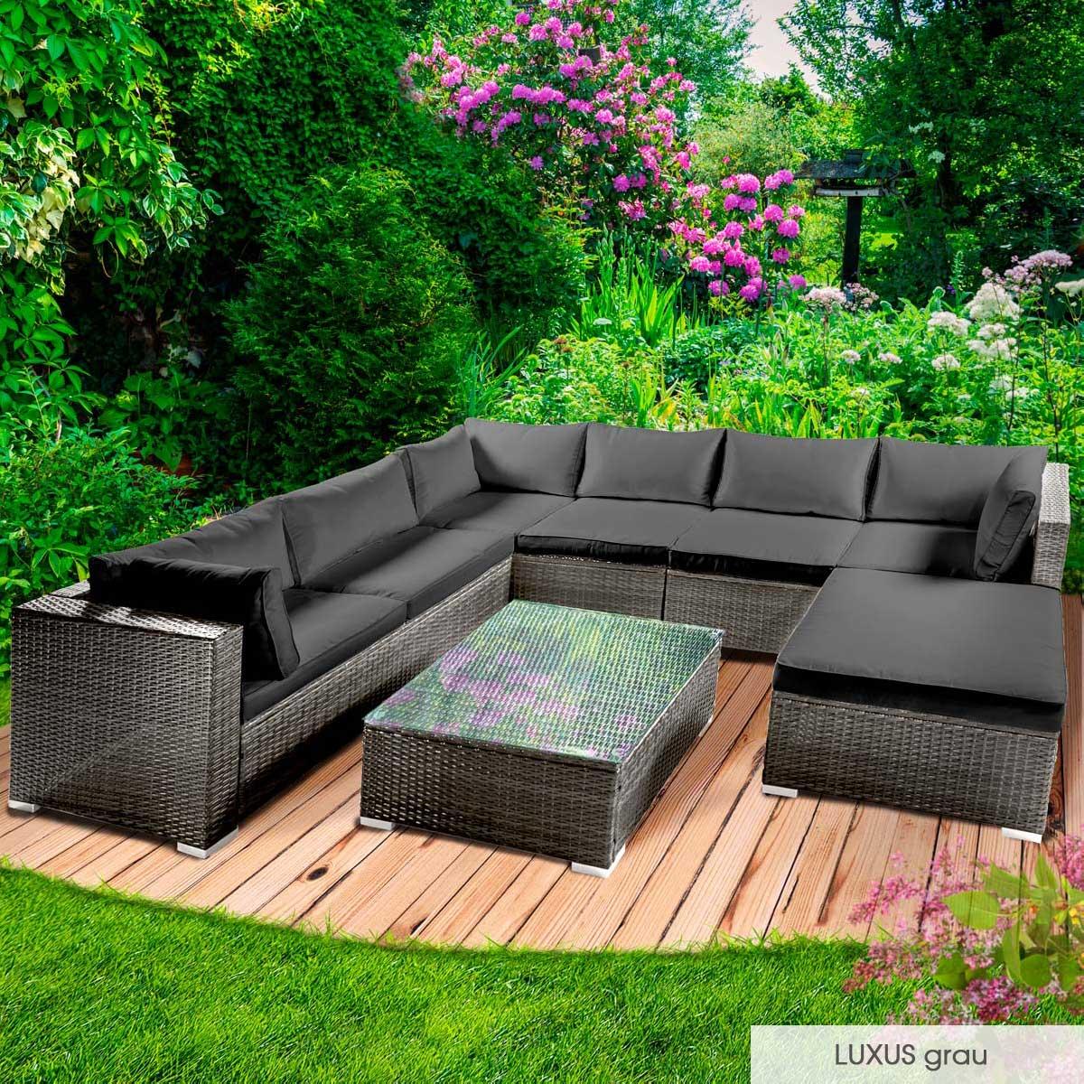 Gartenmoebel-Poly-Rattan-Lounge-Moebel-Sitzgarnitur-Gartengarnitur-Sitzgruppe-Sofa Indexbild 36