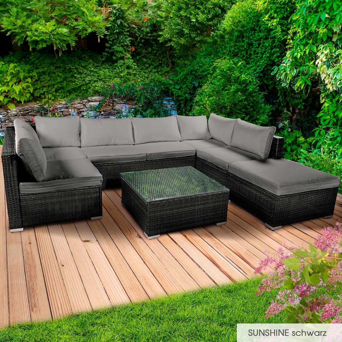 Gartenmoebel-Poly-Rattan-Lounge-Moebel-Sitzgarnitur-Gartengarnitur-Sitzgruppe-Sofa Indexbild 25