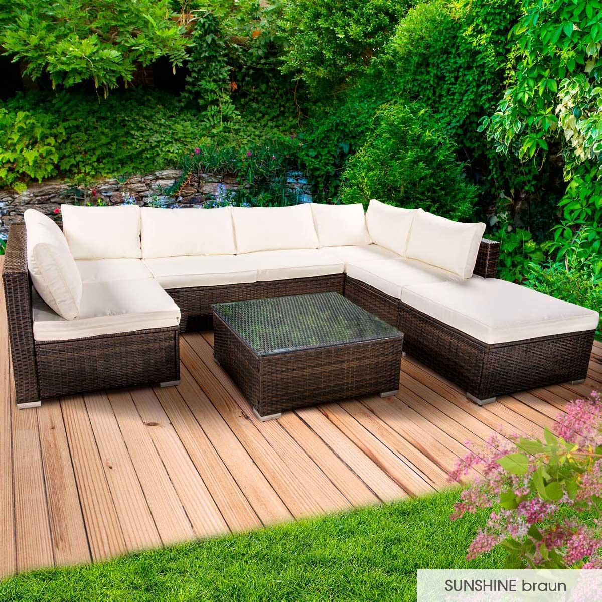 Gartenmoebel-Poly-Rattan-Lounge-Moebel-Sitzgarnitur-Gartengarnitur-Sitzgruppe-Sofa Indexbild 26