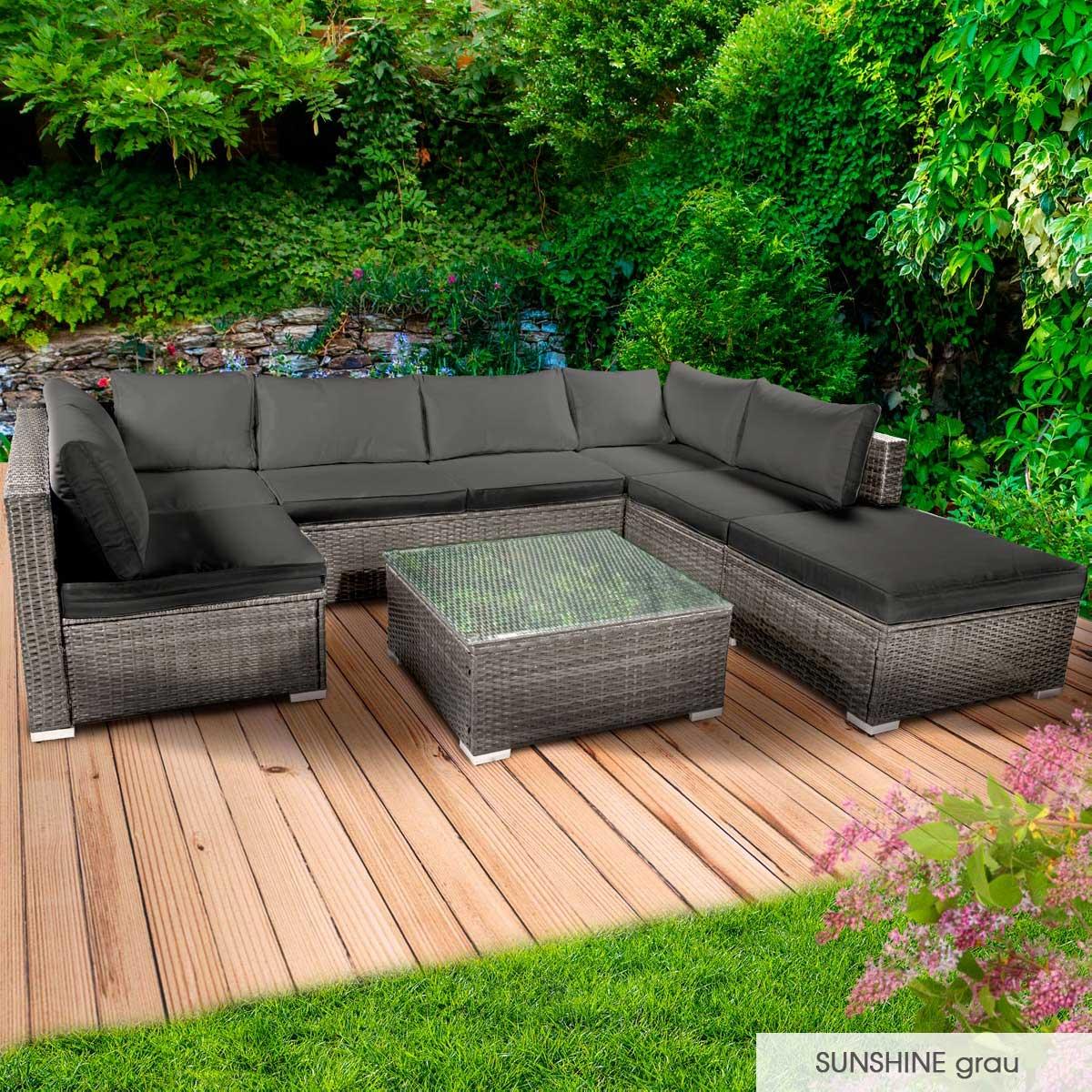 Gartenmoebel-Poly-Rattan-Lounge-Moebel-Sitzgarnitur-Gartengarnitur-Sitzgruppe-Sofa Indexbild 27