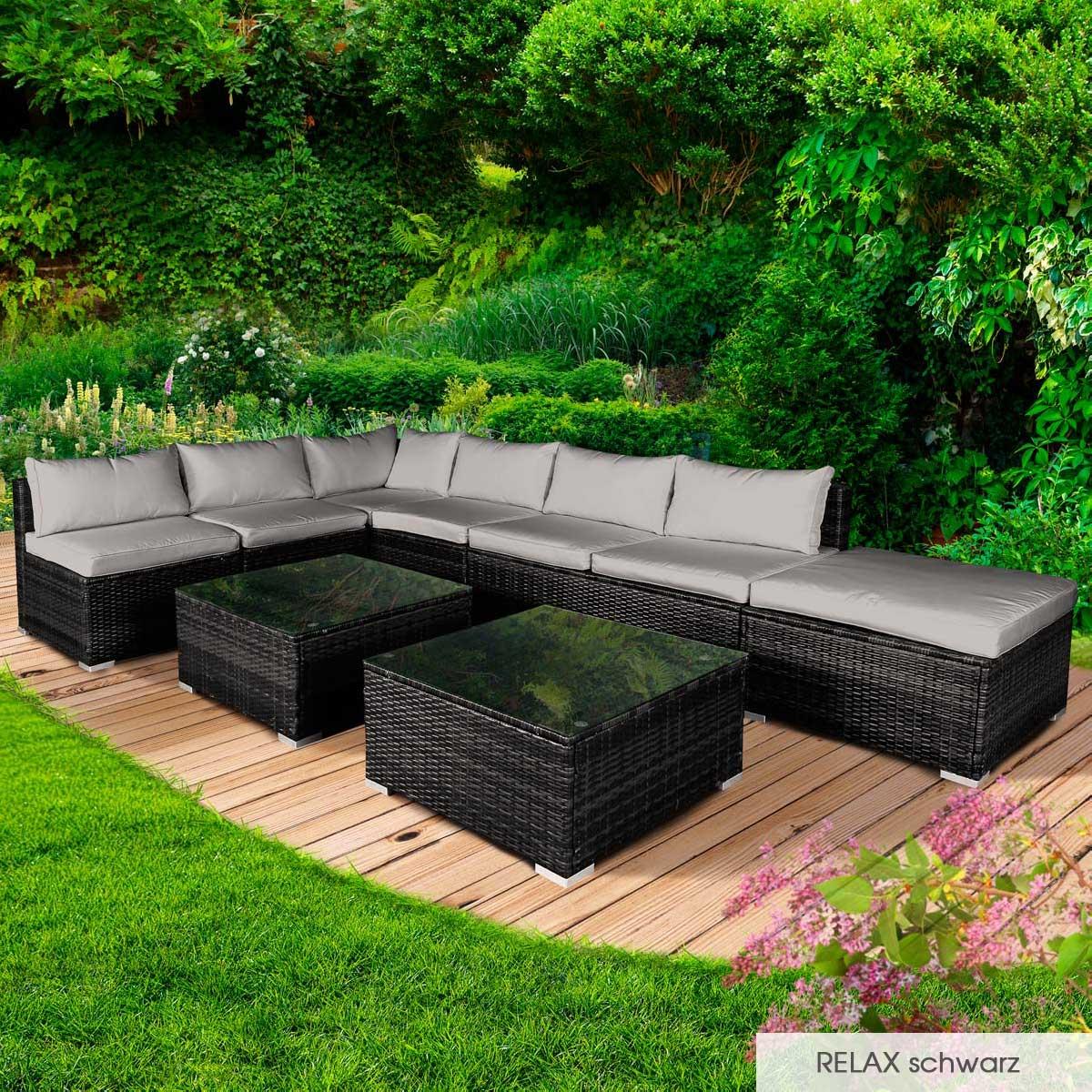 Gartenmoebel-Poly-Rattan-Lounge-Moebel-Sitzgarnitur-Gartengarnitur-Sitzgruppe-Sofa Indexbild 28