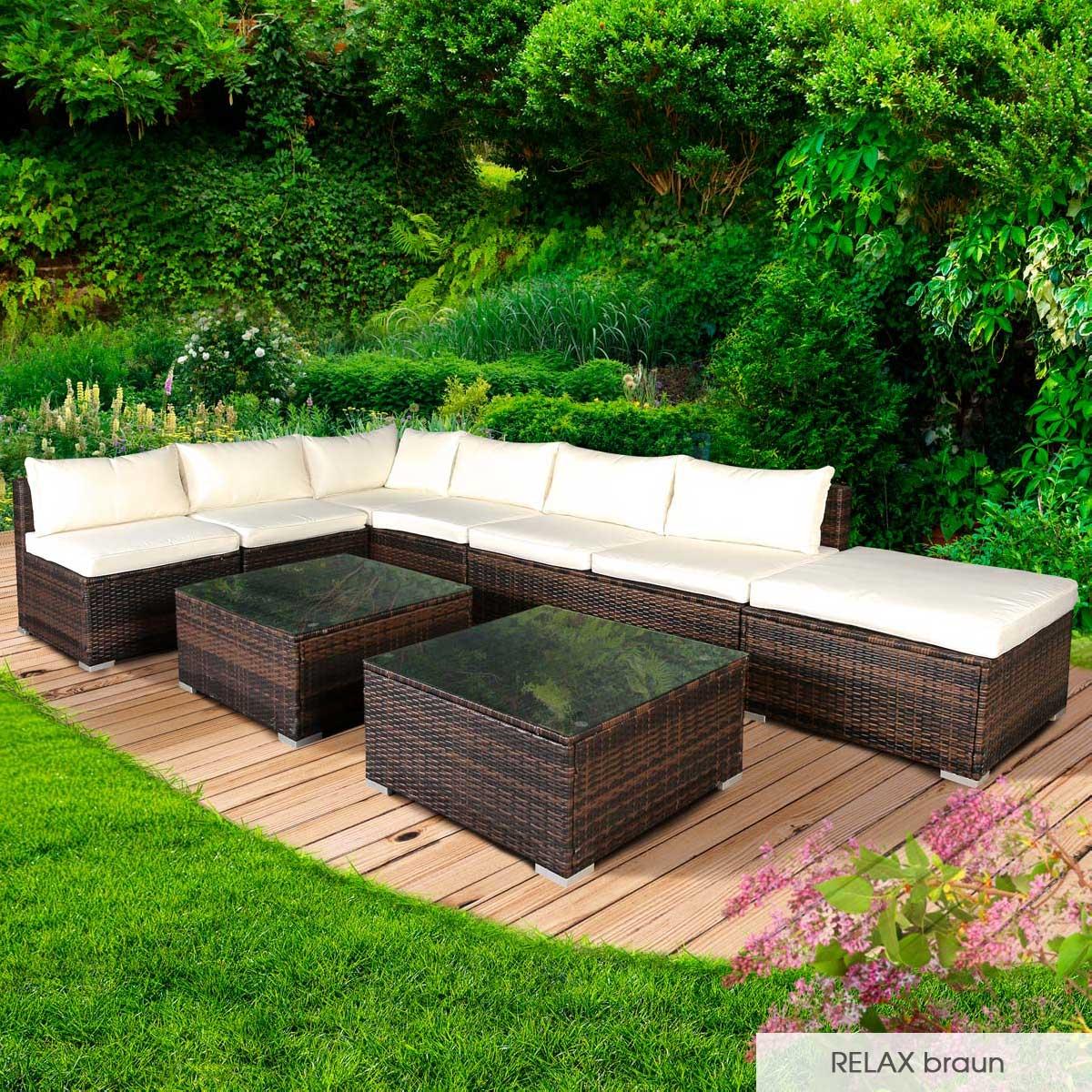 Gartenmoebel-Poly-Rattan-Lounge-Moebel-Sitzgarnitur-Gartengarnitur-Sitzgruppe-Sofa Indexbild 29