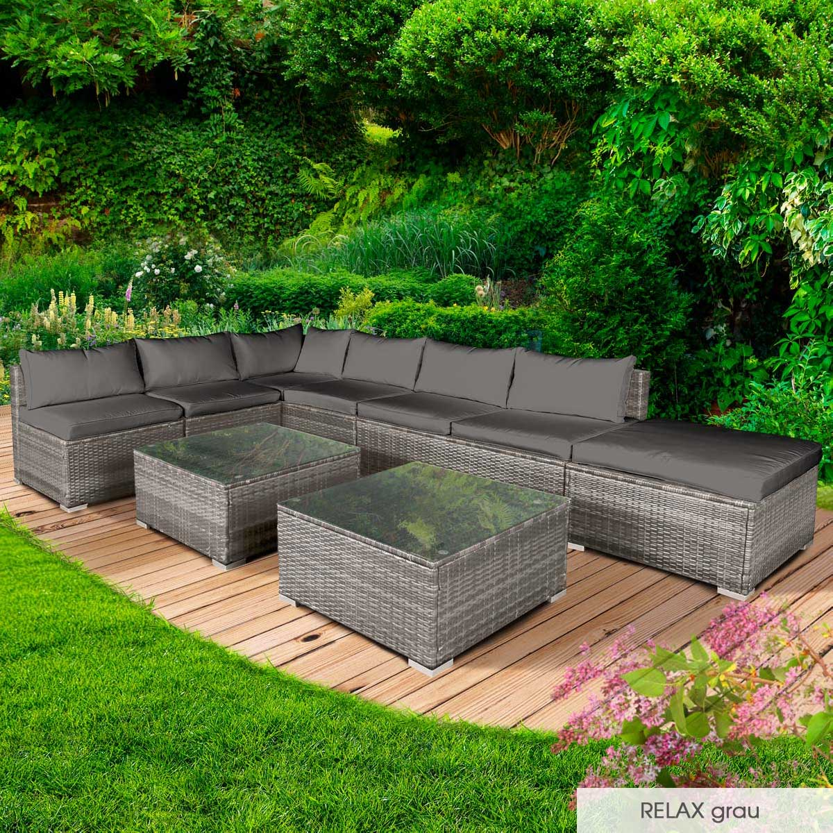 Gartenmoebel-Poly-Rattan-Lounge-Moebel-Sitzgarnitur-Gartengarnitur-Sitzgruppe-Sofa Indexbild 30