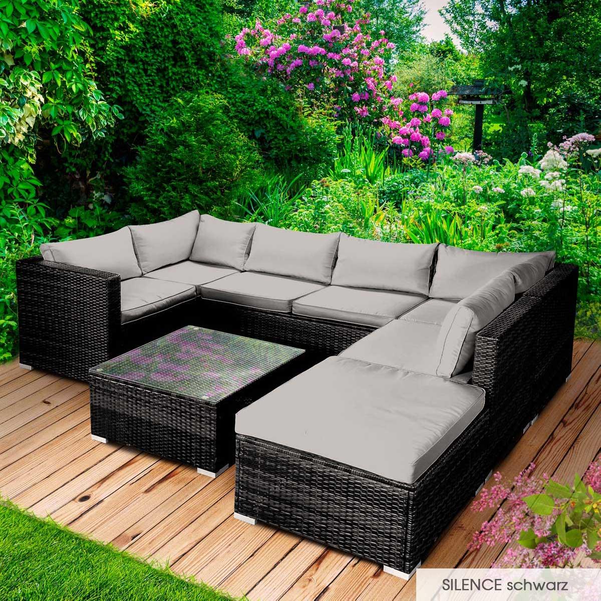 Gartenmoebel-Poly-Rattan-Lounge-Moebel-Sitzgarnitur-Gartengarnitur-Sitzgruppe-Sofa Indexbild 31