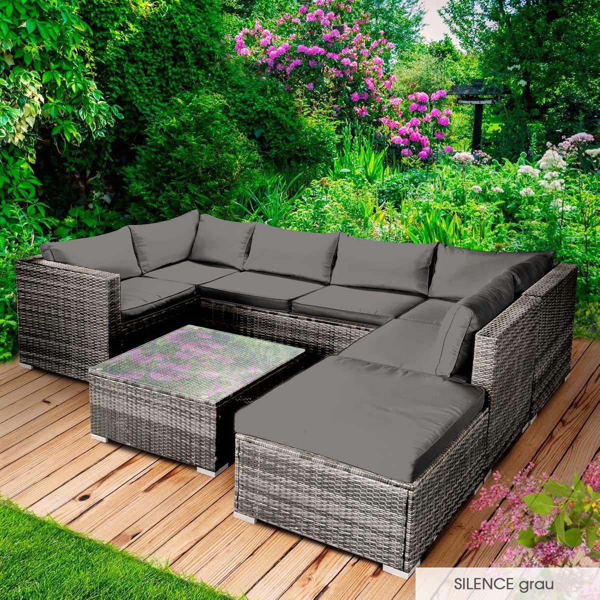 Gartenmoebel-Poly-Rattan-Lounge-Moebel-Sitzgarnitur-Gartengarnitur-Sitzgruppe-Sofa Indexbild 33