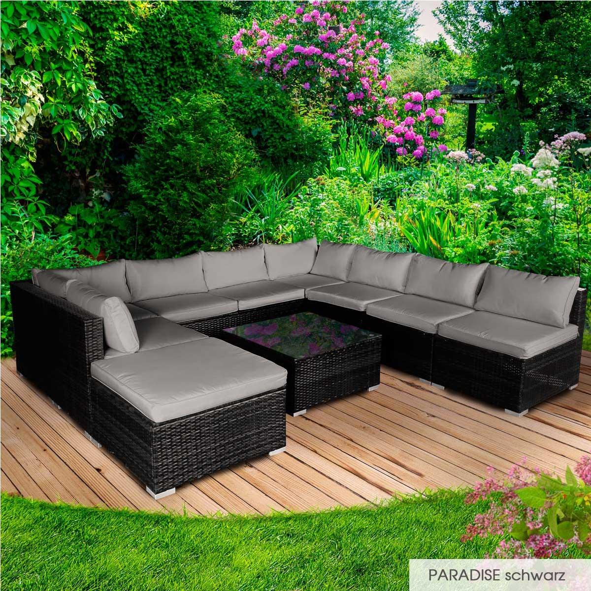 Gartenmoebel-Poly-Rattan-Lounge-Moebel-Sitzgarnitur-Gartengarnitur-Sitzgruppe-Sofa Indexbild 37