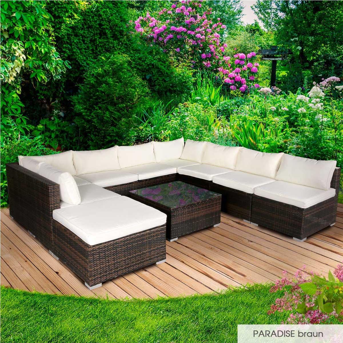 Gartenmoebel-Poly-Rattan-Lounge-Moebel-Sitzgarnitur-Gartengarnitur-Sitzgruppe-Sofa Indexbild 38