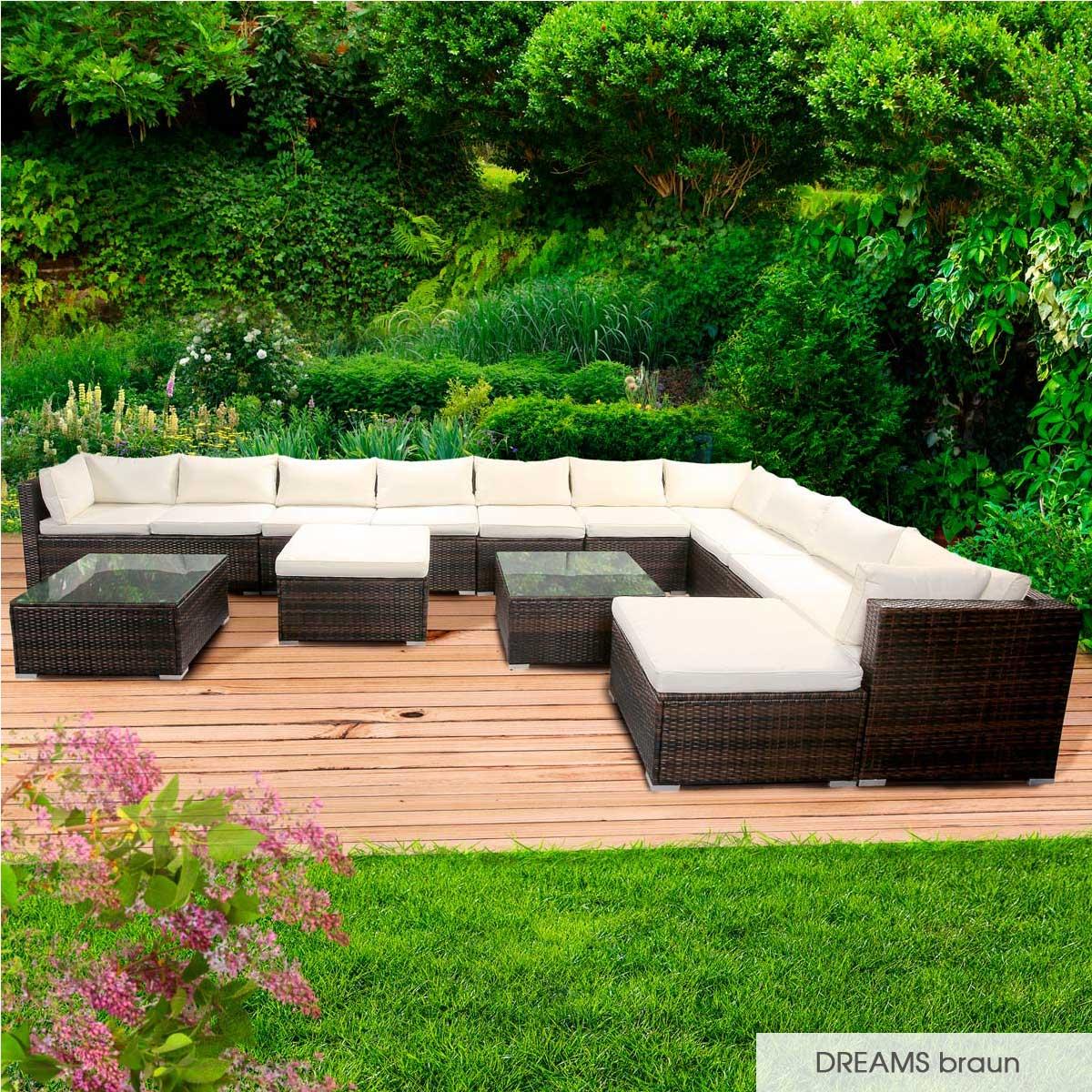 Gartenmoebel-Poly-Rattan-Lounge-Moebel-Sitzgarnitur-Gartengarnitur-Sitzgruppe-Sofa Indexbild 49