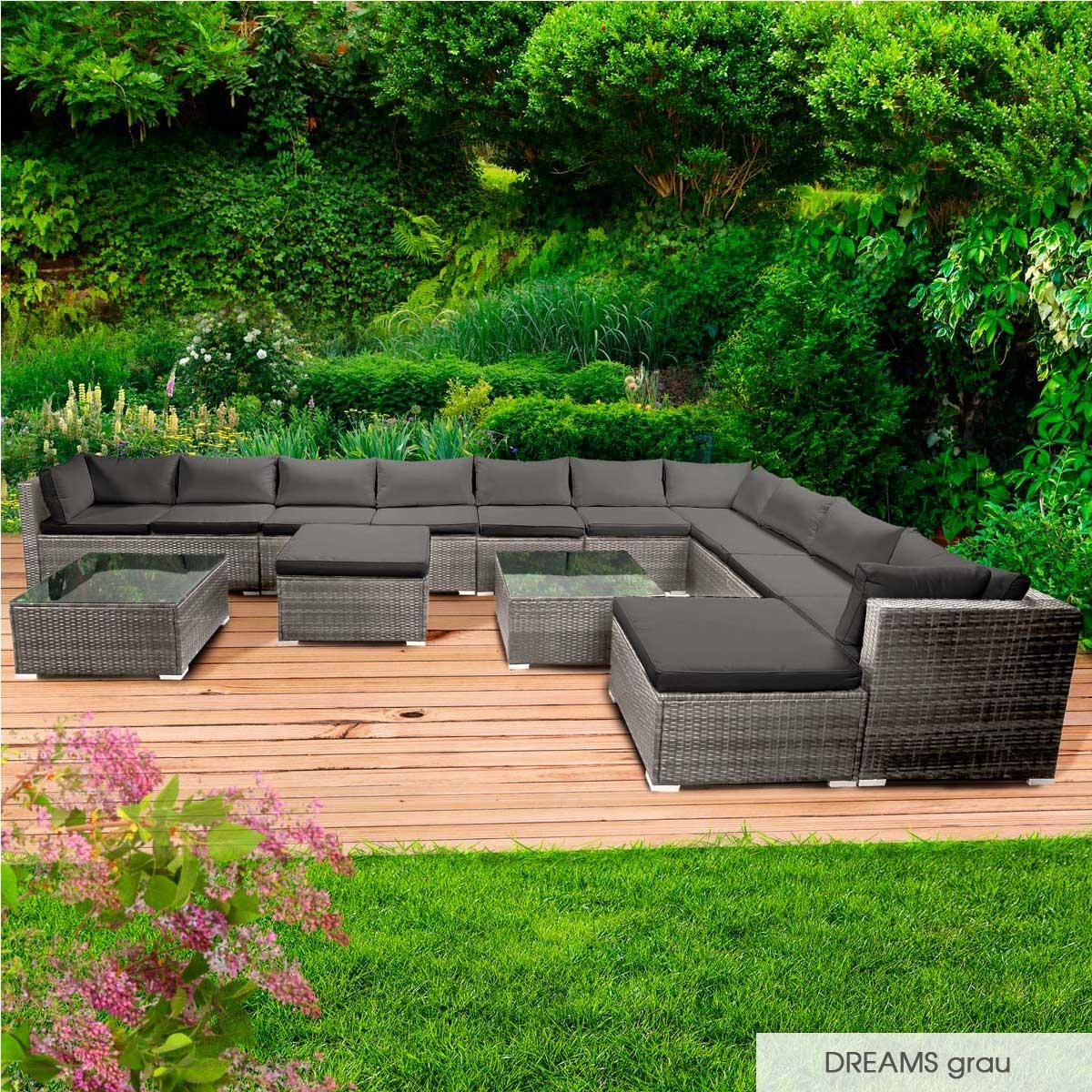 Gartenmoebel-Poly-Rattan-Lounge-Moebel-Sitzgarnitur-Gartengarnitur-Sitzgruppe-Sofa Indexbild 70