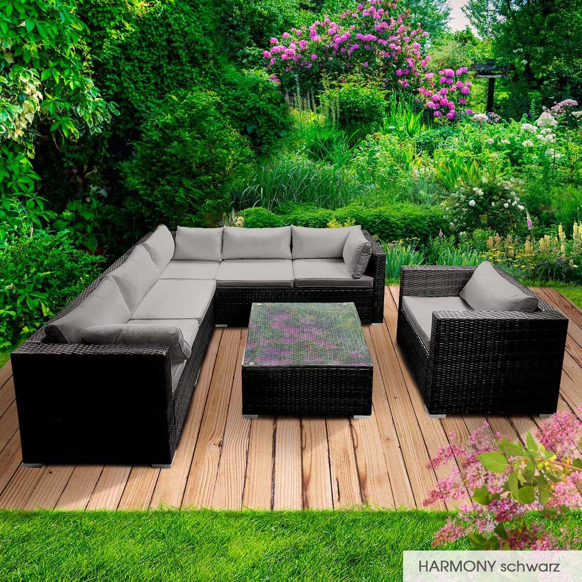 Gartenmoebel-Poly-Rattan-Lounge-Moebel-Sitzgarnitur-Gartengarnitur-Sitzgruppe-Sofa Indexbild 68