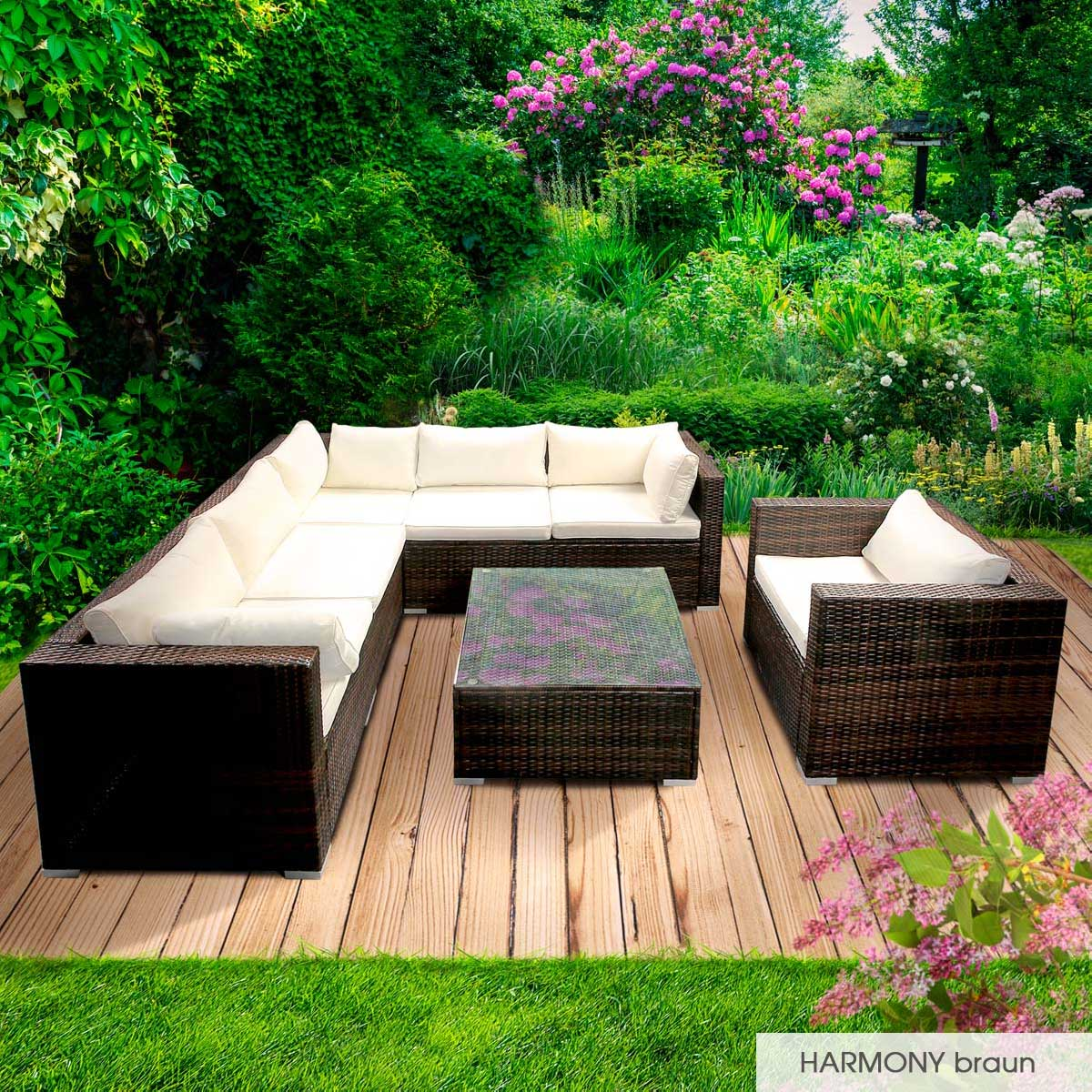 Gartenmoebel-Poly-Rattan-Lounge-Moebel-Sitzgarnitur-Gartengarnitur-Sitzgruppe-Sofa Indexbild 23