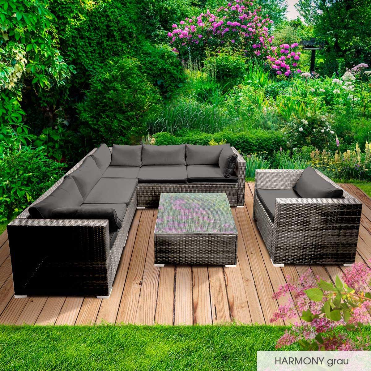 Gartenmoebel-Poly-Rattan-Lounge-Moebel-Sitzgarnitur-Gartengarnitur-Sitzgruppe-Sofa Indexbild 24