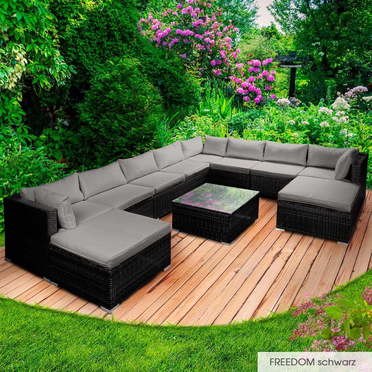 Gartenmoebel-Poly-Rattan-Lounge-Moebel-Sitzgarnitur-Gartengarnitur-Sitzgruppe-Sofa Indexbild 46