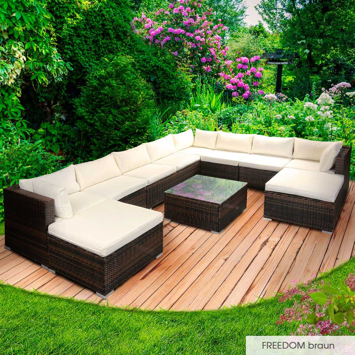 Gartenmoebel-Poly-Rattan-Lounge-Moebel-Sitzgarnitur-Gartengarnitur-Sitzgruppe-Sofa Indexbild 47