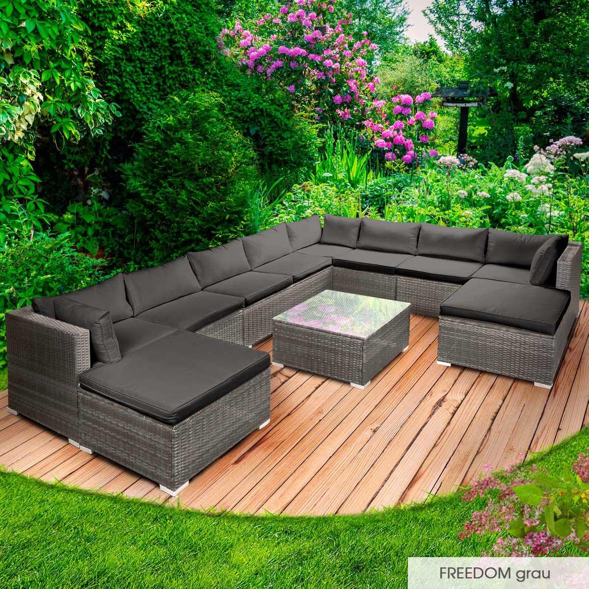 Gartenmoebel-Poly-Rattan-Lounge-Moebel-Sitzgarnitur-Gartengarnitur-Sitzgruppe-Sofa Indexbild 48