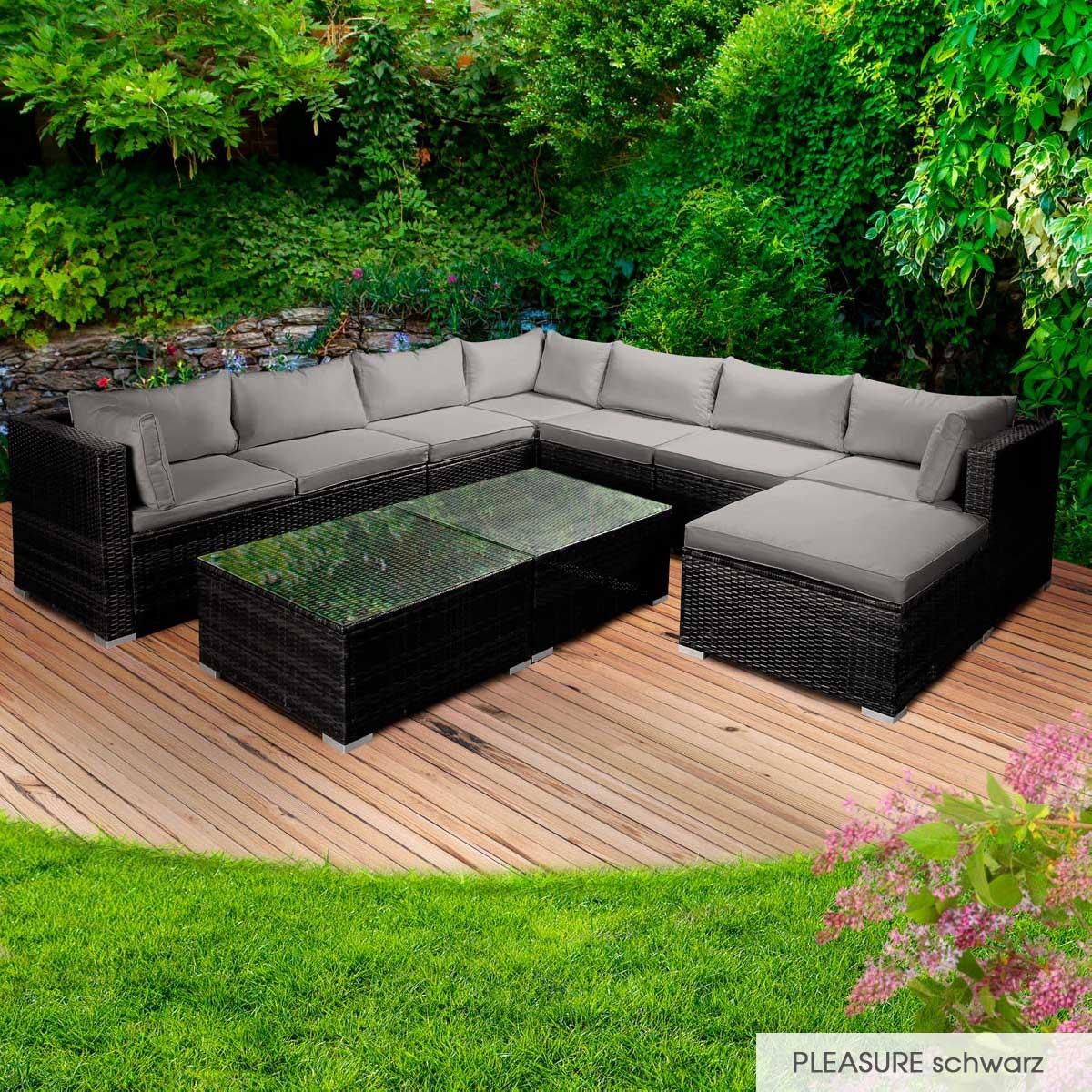 Gartenmoebel-Poly-Rattan-Lounge-Moebel-Sitzgarnitur-Gartengarnitur-Sitzgruppe-Sofa Indexbild 43