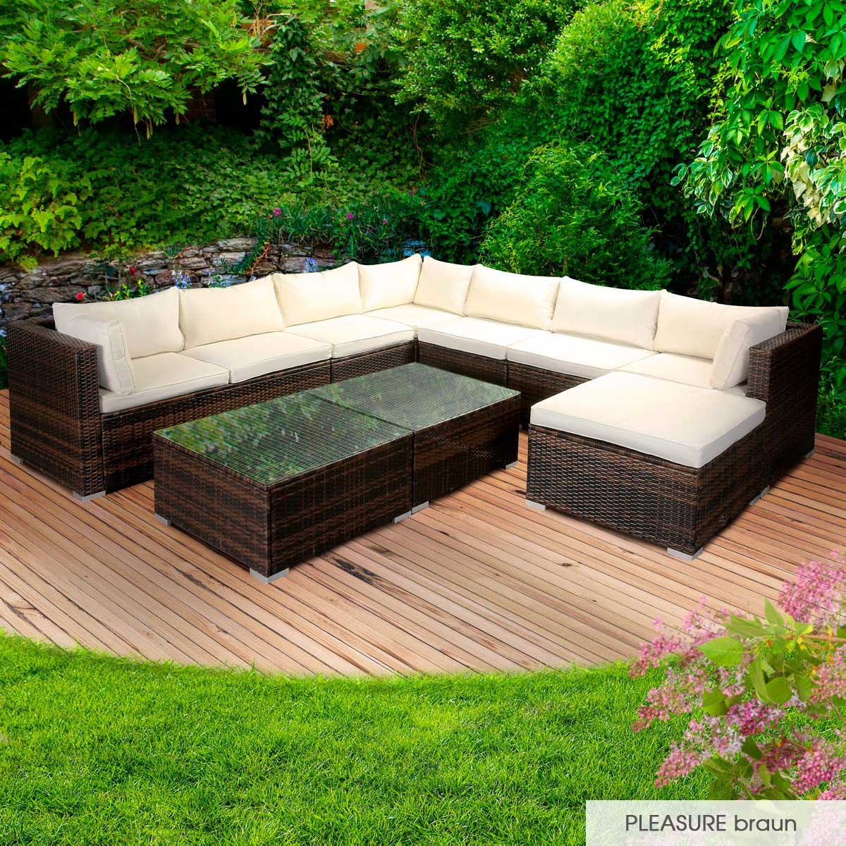 Gartenmoebel-Poly-Rattan-Lounge-Moebel-Sitzgarnitur-Gartengarnitur-Sitzgruppe-Sofa Indexbild 44