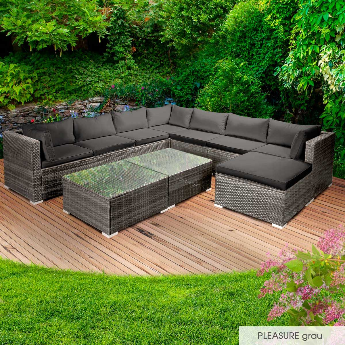 Gartenmoebel-Poly-Rattan-Lounge-Moebel-Sitzgarnitur-Gartengarnitur-Sitzgruppe-Sofa Indexbild 45