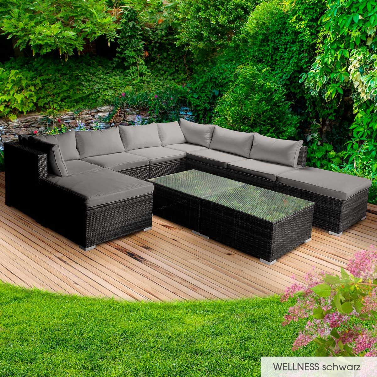 Gartenmoebel-Poly-Rattan-Lounge-Moebel-Sitzgarnitur-Gartengarnitur-Sitzgruppe-Sofa Indexbild 40