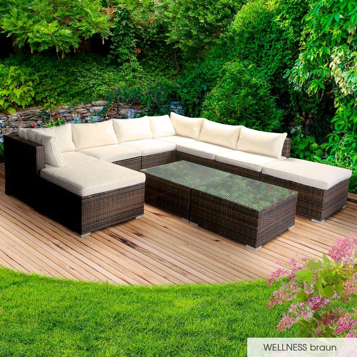 Gartenmoebel-Poly-Rattan-Lounge-Moebel-Sitzgarnitur-Gartengarnitur-Sitzgruppe-Sofa Indexbild 41