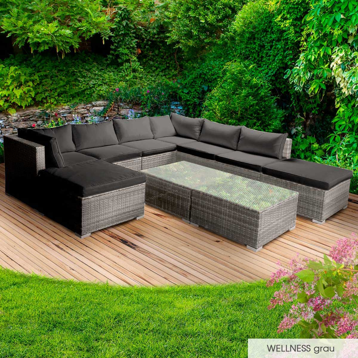 Gartenmoebel-Poly-Rattan-Lounge-Moebel-Sitzgarnitur-Gartengarnitur-Sitzgruppe-Sofa Indexbild 42
