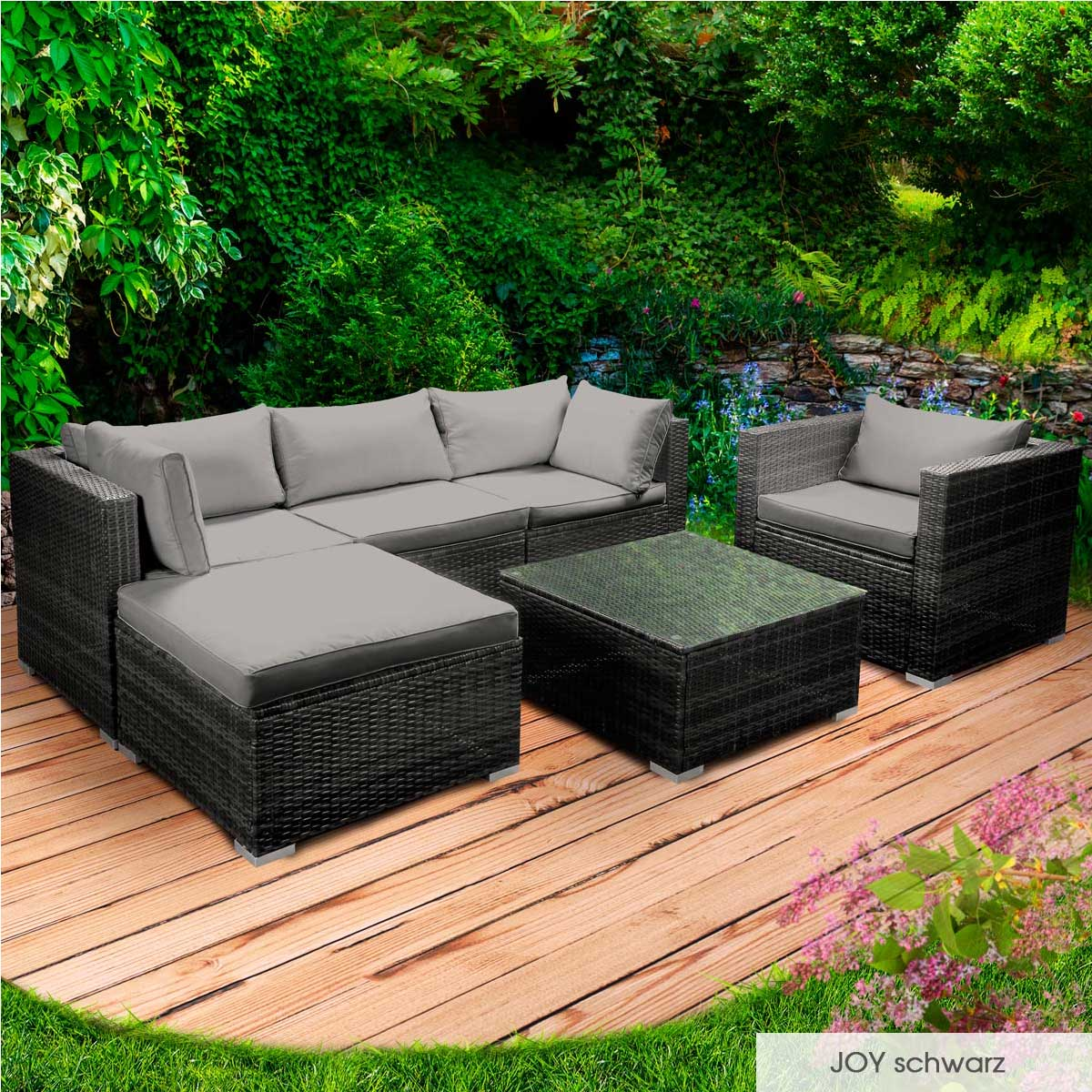 Gartenmoebel-Poly-Rattan-Lounge-Moebel-Sitzgarnitur-Gartengarnitur-Sitzgruppe-Sofa Indexbild 66